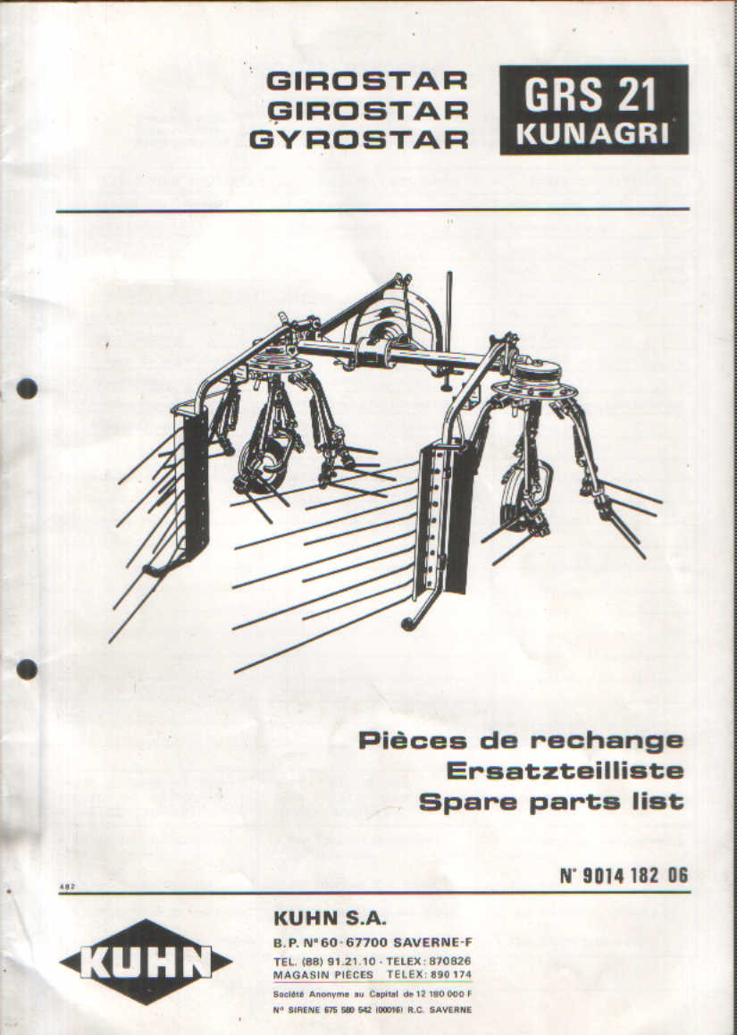 Kuhn rake parts Manual