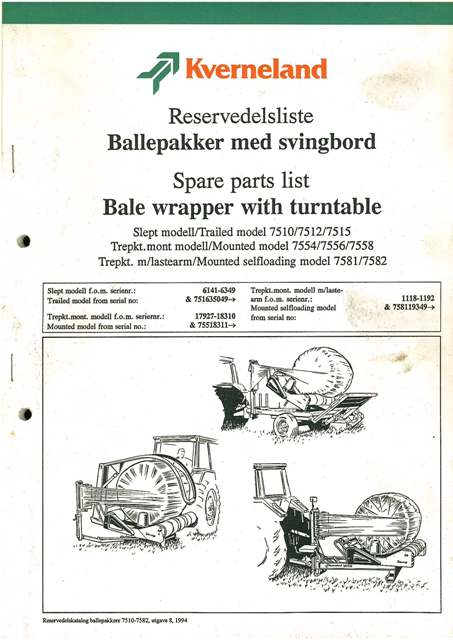 kverneland bale wrapper with turntable parts manual 7510 7512 7515 rh agrimanuals com