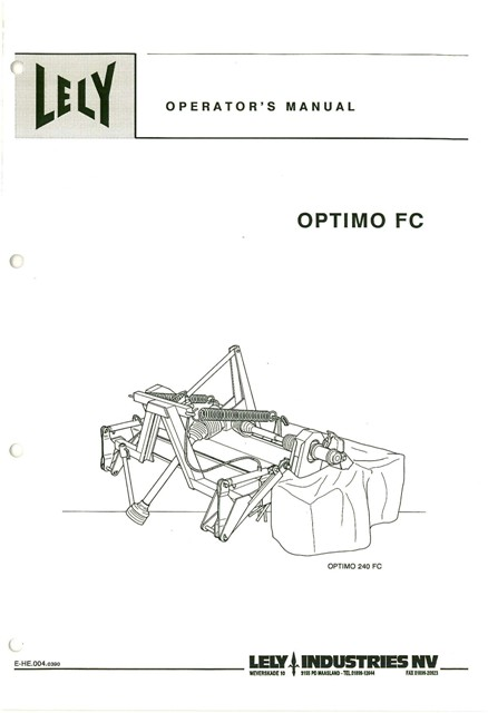 Lely Mower Parts Manual