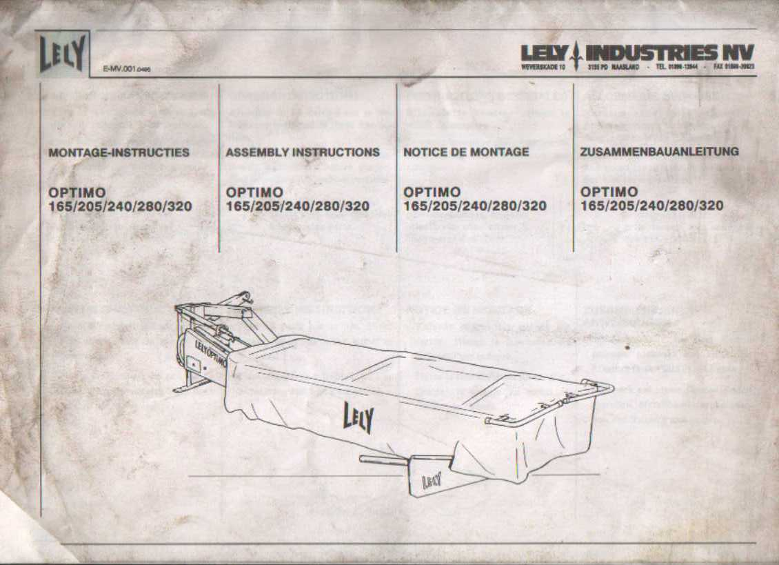 lely mower optimo 165 205 240 280 320 assembly instruction manual rh agrimanuals com Lely Parts Online Lely Disc Mower Dealers