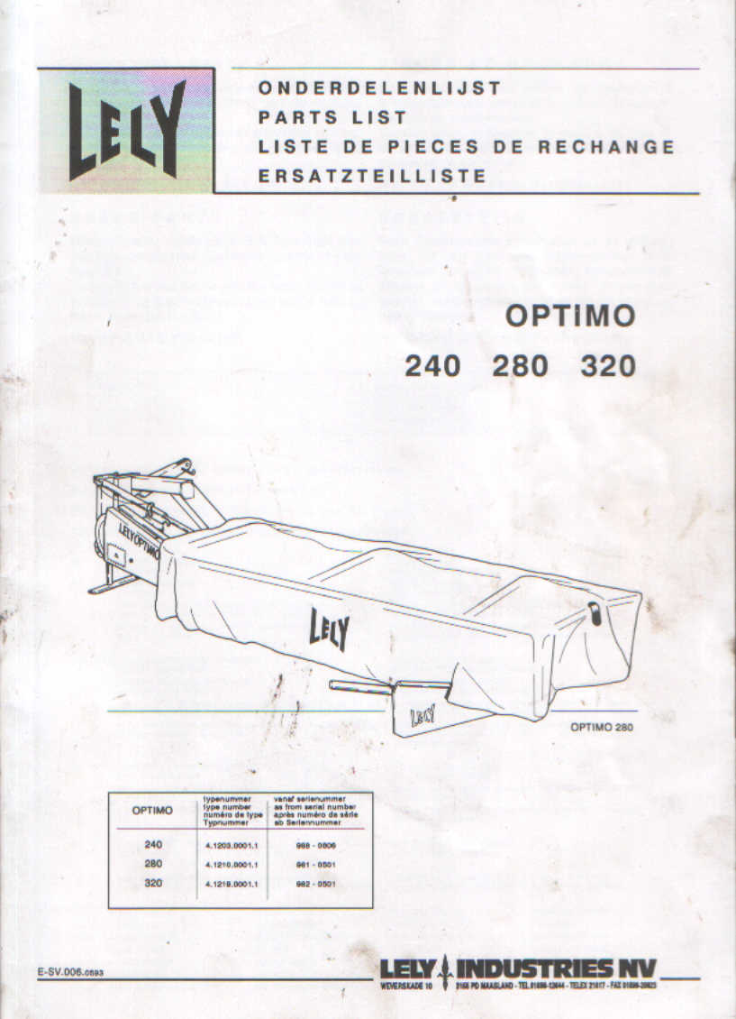 lely mower optimo 240 280 320 parts manual rh agrimanuals com Disc Mower Parts Product Old Parts for Lely