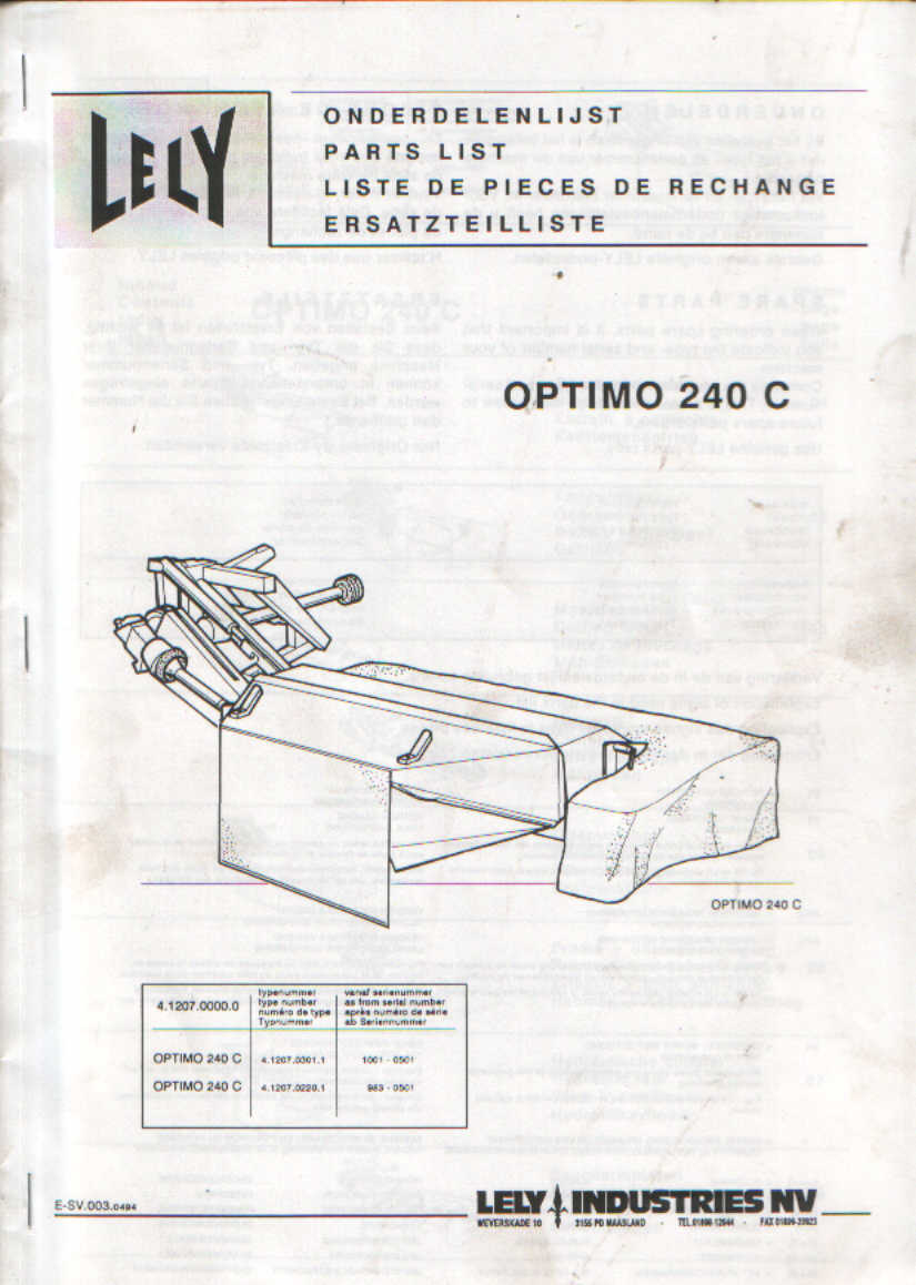 lely mower optimo 240 c parts manual rh agrimanuals com Gehl 160 Disc Mower Parts Old Parts for Lely
