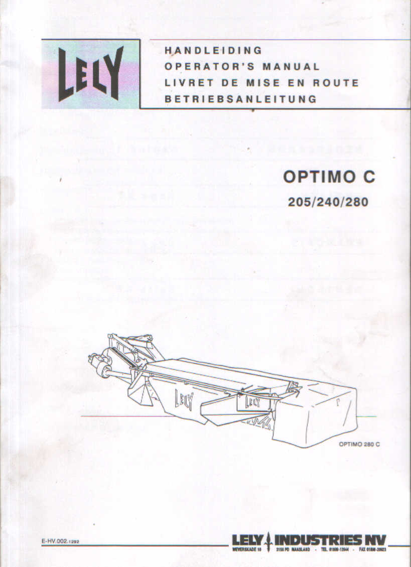 lely mower optimo c 205 240 280 operators manual rh agrimanuals com Lely Parts Lely Parts