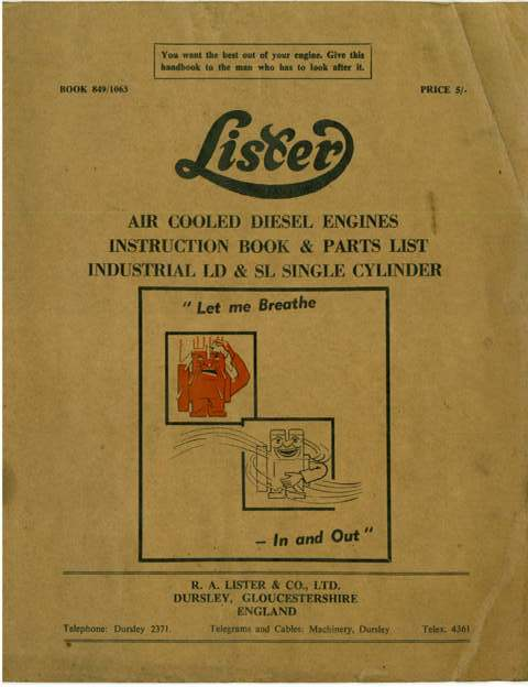 Lister Diesel Engine Air Cooled Types LD & SL Operators Manual with Parts List