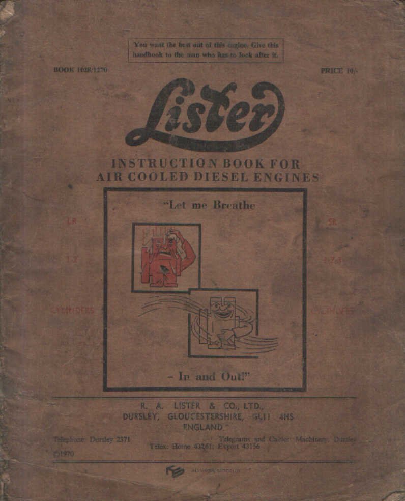 Lister Diesel Engine Lr1 Lr2 Sr1 Sr2 Sr3 Operators Manual