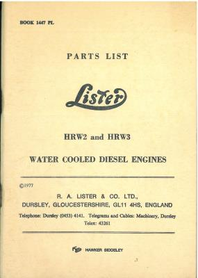 Lister Engine HRW2 & HRW3 Parts Manual