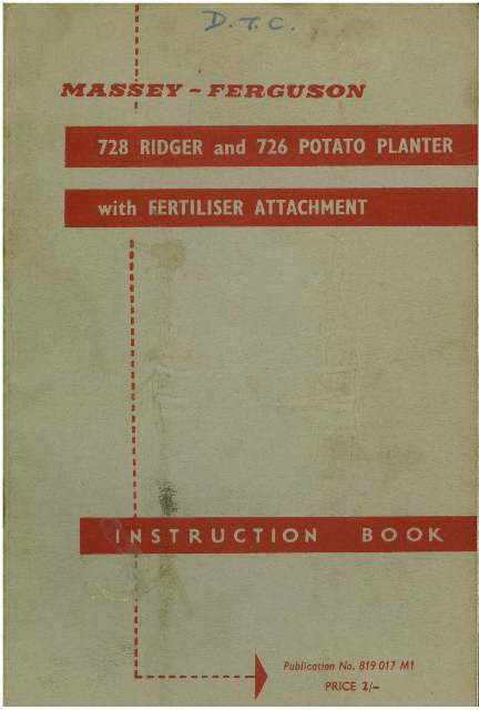 Massey Ferguson 728 Ridger  U0026 726 Potato Planter With
