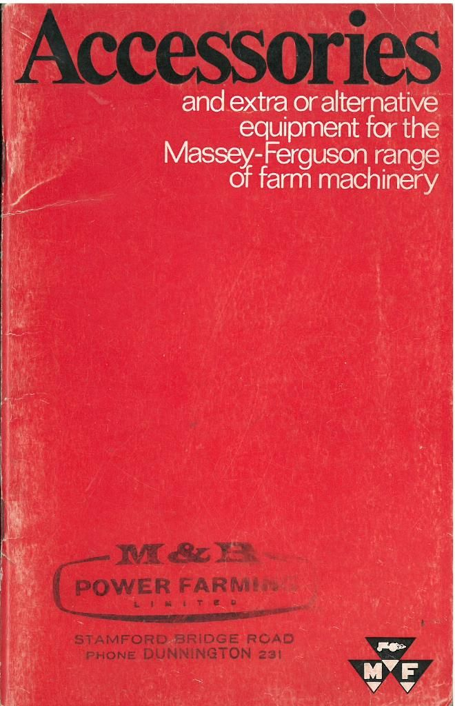 Massey Ferguson Farm Machinery Accessories Catalogue - Tractor Combine  Baler and General Machines