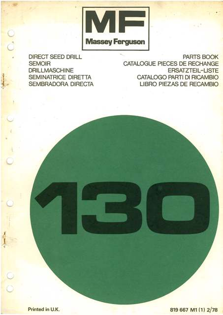 Massey Ferguson 130 Direct Drill Brochure Agriculture/farming