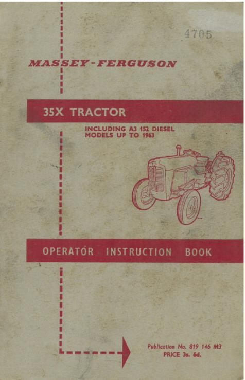 Agriculture/farming Ferguson 35 Instruction Book  .................................  Original Manual