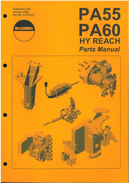 McConnel Hedgetrimmer Hy-Reach Power Arm PA55 & PA60 Parts Manual