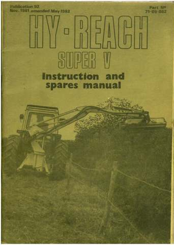 McConnel Hedgetrimmer Hy-Reach Super V Operators Manual with Parts Manual.