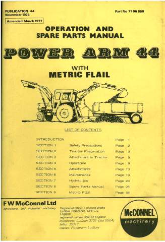 McConnel Power Arm 44 PA44 Digger with Metric Flail Operators Manual with Parts List
