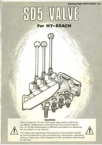 McConnel SD5 Valve for Hy-Reach Hedgetrimmer Operators Manual with Parts Manual