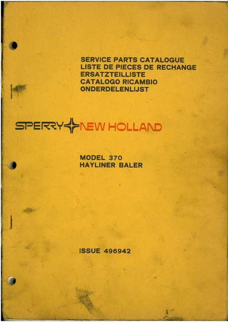 New Holland Baler 370 Parts Manual