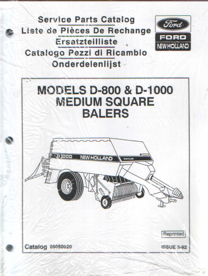 New Holland D800  U0026 D1000 Big Baler Parts Manual