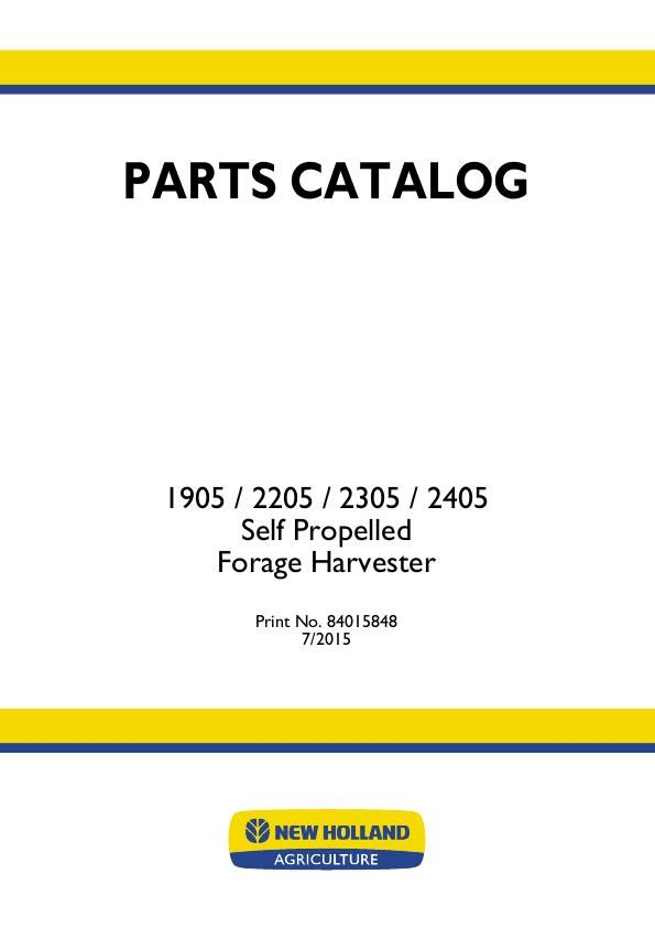 New Holland Forage Harvester 1905 2205 2305 2405 Parts Manual