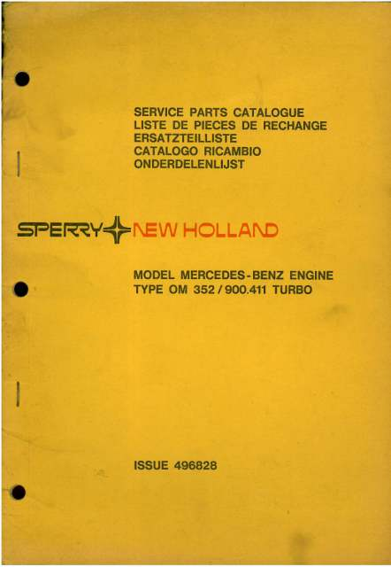new holland mercedes benz engine - model om352 900 411 turbo parts manual
