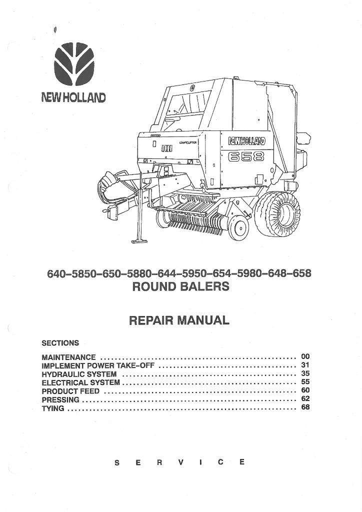 new holland round baler 640 644 648 650 654 658 5850 5880 5950 5980 rh agrimanuals com 630 New Holland Troubleshooting NH Round Balers