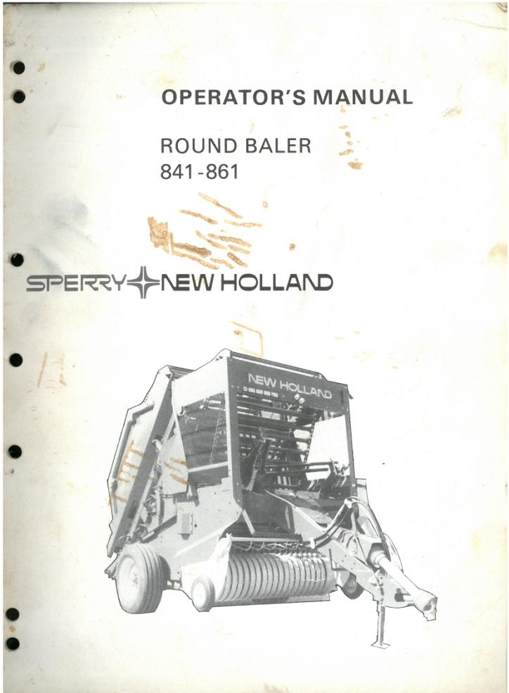 New Holland Round Baler 841 And 861 Operators Manual