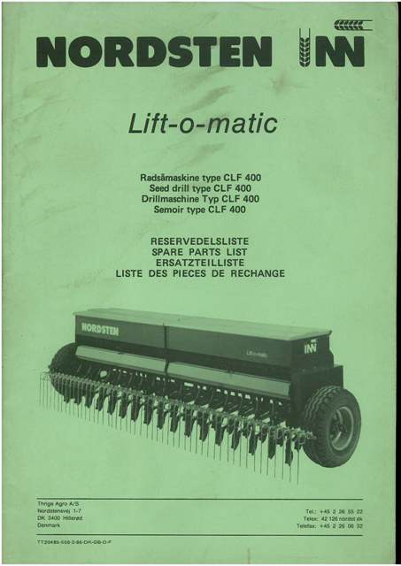Nordsten Lift-o-Matic Type CLF 400 Seed Drill Parts Manual