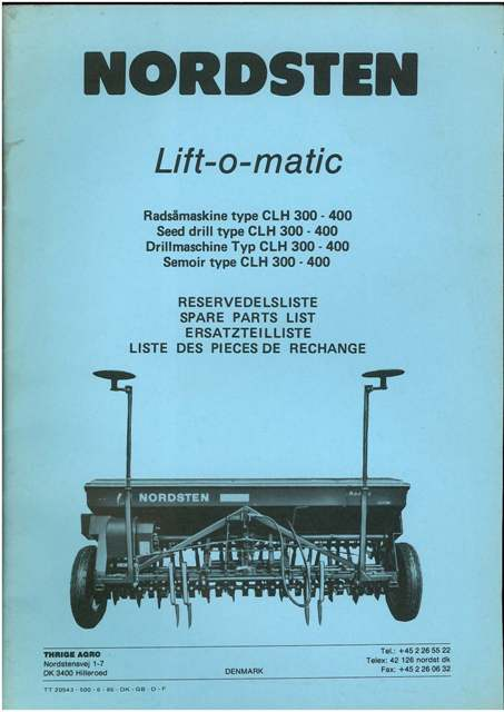 Nordsten Lift O Matic Type Clh 300 400 Seed Drill Parts Manual