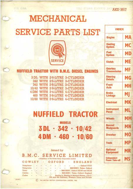 Nuffield Tractor 3dl 4dm 342 460 10 42 10 60 Parts Manual