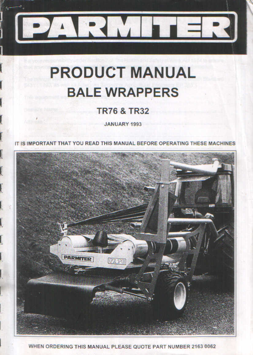 parmiter bale wrapper tr76 tr32 operators manual with parts list rh agrimanuals com manual bale press machine manual bale wrapper