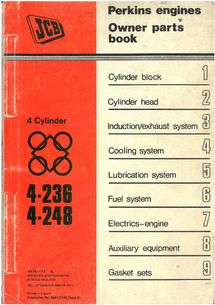 Perkins Engine 4 236 And 4 248 Parts Manual For The Jcb Digger 5c 6