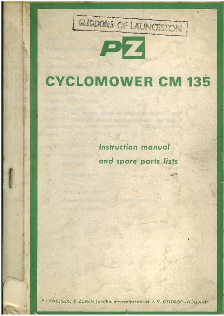 PZ Cyclomower CM 135 Operators Manuals with Parts List.