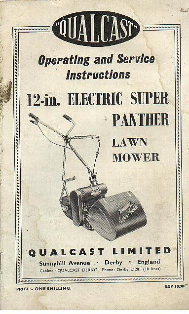 Qualcast Mower 12 Electric Super Panther Lawn Mower Operators Manual With Parts List