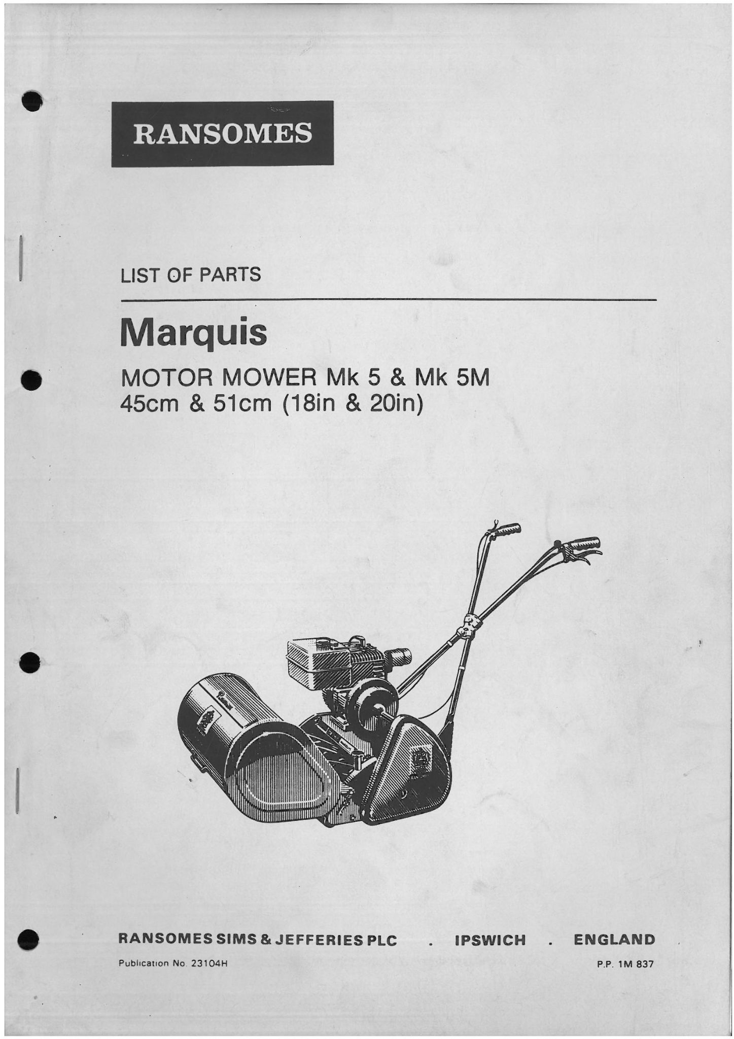 ransomes grass cutting machine marquis mk5 mk5m mower parts manual rh agrimanuals com ransomes mower parts list ransomes gang mower manual