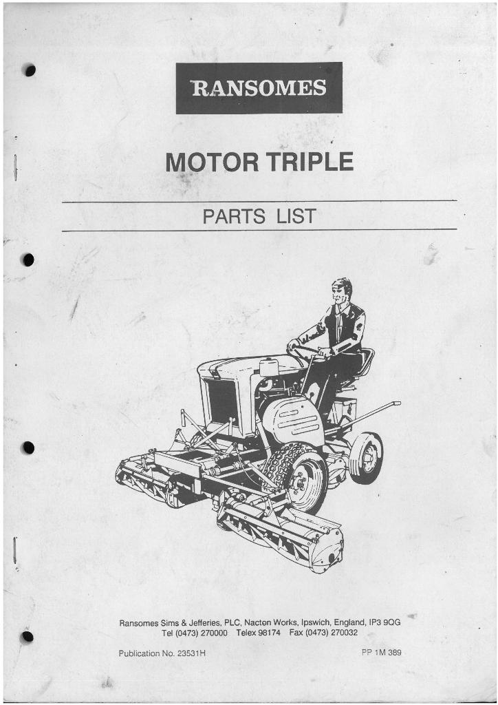 Ransomes Grass Cutting Machine Motor Triple Parts Manual