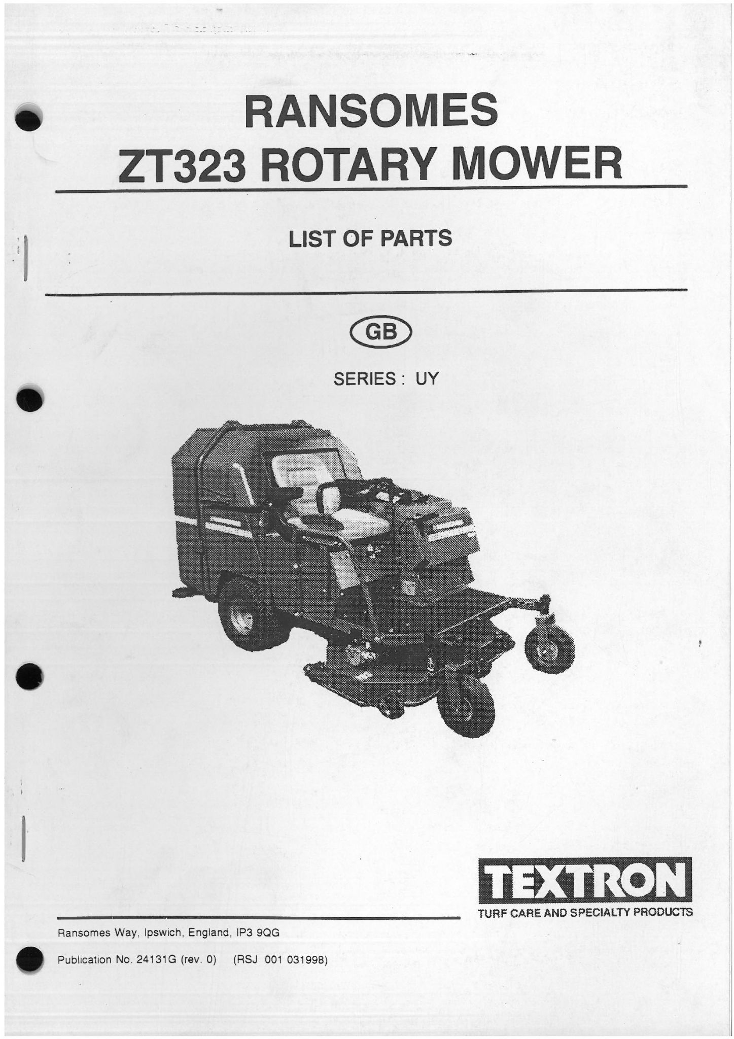 Ransome bobcat mower Parts Manual