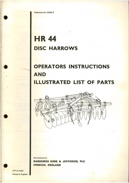 ransomes hr44 disc harrows operators manual with parts list