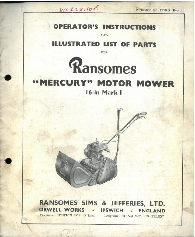 Ransomes Mercury Mower Operators    Manual    with Parts List