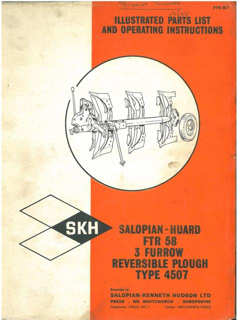 Reversible Plough Operating Instructions Salopian Huard Collectables