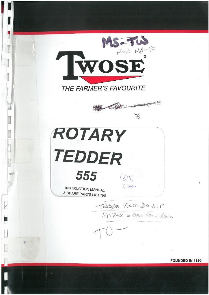 Twose Rotary Tedder 555 Operators Manual with Parts List