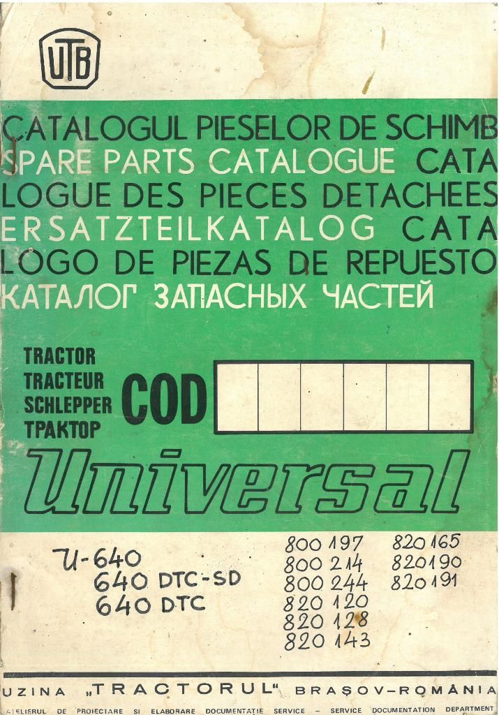 Universal Utb Tractor 640 Parts Manual Other Models U640 640 Dtc Sd 640 Dtc