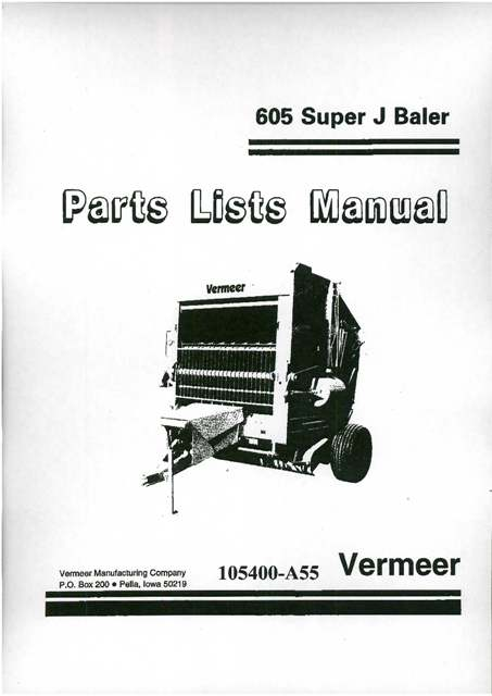 vermeer baler 605 super j parts manual rh agrimanuals com EZ Go Wiring Diagram Mustang Wiring Diagrams