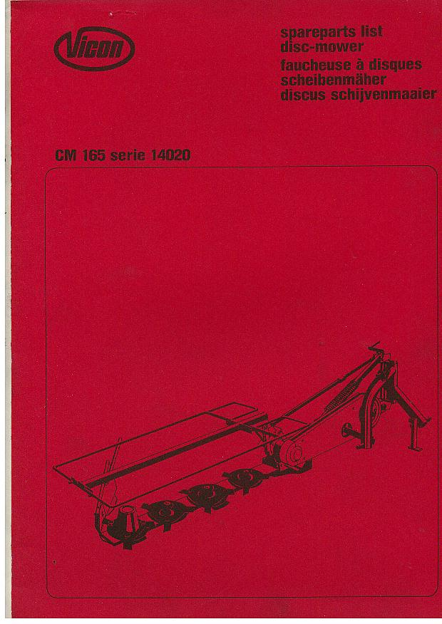 Vicon Mower Cm165 Parts Manual