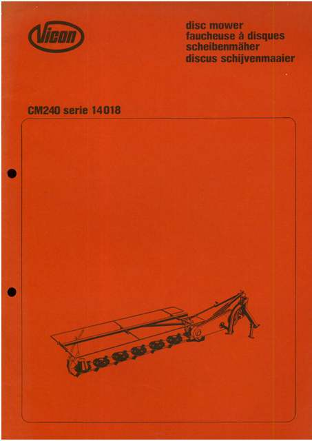 Vicon Mower Cm240 Parts Manual