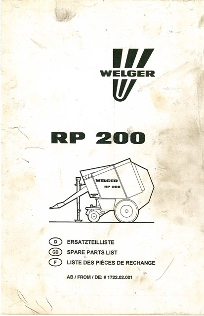 Welger Round Baler Rp200 Parts Manual