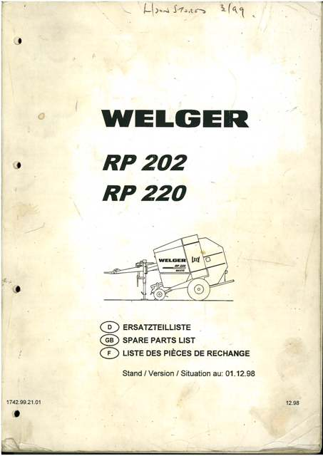Welger Round Baler RP202 & RP220 Parts Manual
