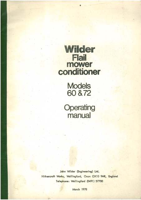Wilder Flail Mower Conditioner Models 60 & 72 Operators Manual
